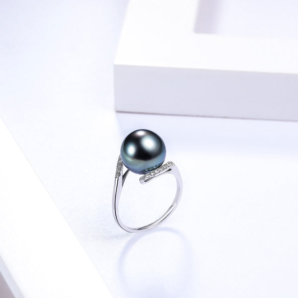 11.5mm South Sea Saltwater Pearl Diamond Accent Engagement Wedding Ring in 18K Gold - Ables Mall