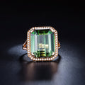 17.301 CT Tourmaline Diamond Accent Emerald Cut Engagement Wedding Ring in 18K Gold - Ables Mall