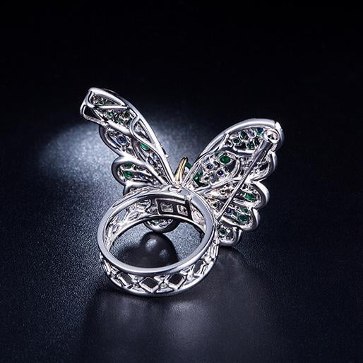 1.877 CT Emerald Gemstone Diamond Accent Butterfly Engagement Ring in 18K Gold - Ables Mall