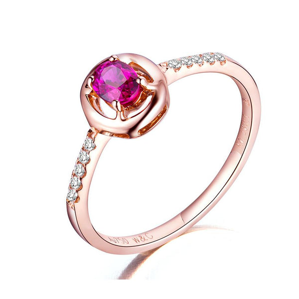 Oval Ruby Diamond Paved Engagement Wedding Ring in 18K Gold - Ables Mall