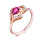 18K Rose Gold Pear Ruby Diamond Accent Love Heart Engagement Wedding Ring