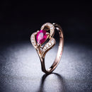 Pear Ruby Diamond Accent Love Heart Engagement Wedding Ring in 18K Gold - Ables Mall