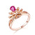 Pear Ruby Diamond Accent Queen Crown Engagement Wedding Ring in 18K Gold - Ables Mall