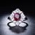 2.05 CT Oval Ruby Diamond Accent Flower Engagement Wedding Ring in 18K Gold - Ables Mall