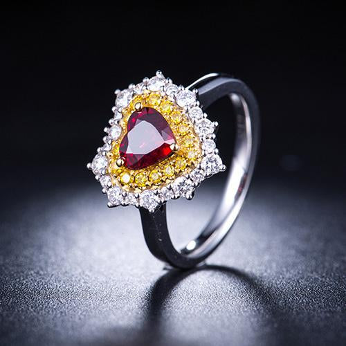 1.19 CT Heart Ruby Yellow Diamond Accent Love Engagement Wedding Ring in 18K Gold - Ables Mall