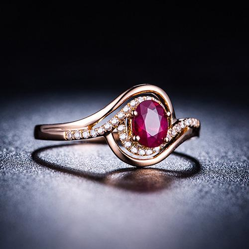 Oval Ruby Diamond Accent Infinity Engagement Wedding Ring in 18K Gold - Ables Mall