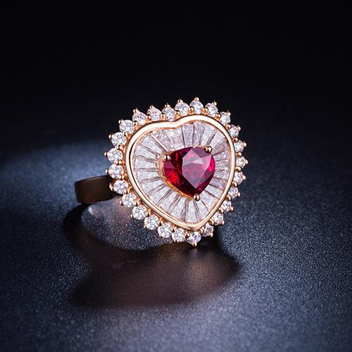 1.51 CT Heart Ruby Diamond Accent Engagement Wedding Ring in 18K Gold - Ables Mall