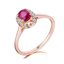 Oval Ruby Diamond Accent Halo Engagement Wedding Ring in 18K Gold - Ables Mall