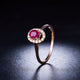 Oval Ruby Diamond Accent Halo 18K Gold Engagement Wedding Ring