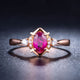 Prong Set Oval Ruby Diamond Accent Engagement Wedding Ring in 18K Gold