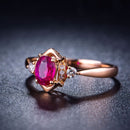 Prong Set Oval Ruby Diamond Accent Engagement Wedding Ring in 18K Gold - Ables Mall