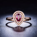 Pear Ruby Diamond Accent Halo Teardrop Engagement Wedding Ring in 18K Gold - Ables Mall