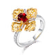 0.76CT Oval Ruby Diamond Accent Two Tone Floral Petal Engagement Wedding Ring in 18K Gold