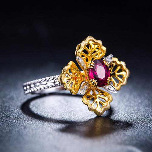 0.76CT Oval Ruby Diamond Accent Two Tone Floral Petal Engagement Wedding Ring in 18K Gold - Ables Mall