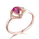 18K Gold Pear Ruby Diamond Accent Love Heart Engagement Wedding Ring