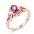 Oval Ruby Diamond Accent Arrow And Shield Engagement Wedding Ring in 18K Gold - Ables Mall