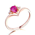 Pear Ruby Diamond Accent Gemstone Heart Engagement Wedding Ring in 18K Gold