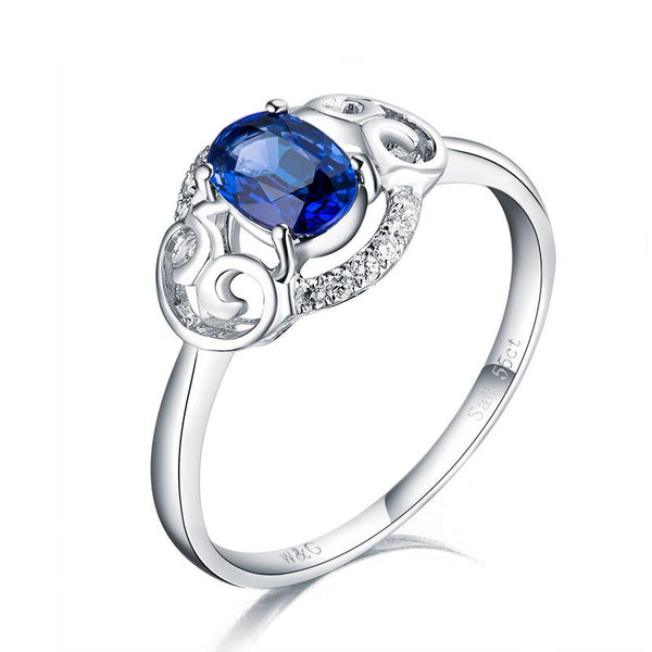Oval Sapphire Diamond Accent Filigree Flower Engagement Wedding Ring in 18K Gold - Ables Mall
