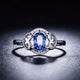 Oval Sapphire Diamond Accent Filigree Flower Engagement Wedding Ring in 18K Gold