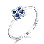 Blue Sapphire Love Hearts Clover Flower Engagement Wedding Ring in 18K Gold