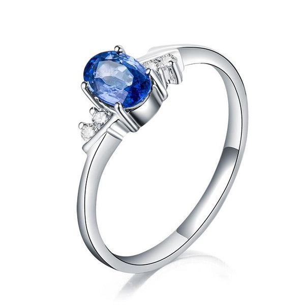 Oval Sapphire Diamond Accent Engagement Wedding Ring in 18K Gold - Ables Mall