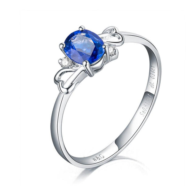 Oval Sapphire Diamond Accent Love Hearts Engagement Wedding Ring in 18K Gold - Ables Mall