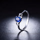 Oval Sapphire Diamond Accent Love Hearts Engagement Wedding Ring in 18K Gold