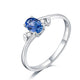 Oval Sapphire Diamond Accent 3 Stone Bud Leave Engagement Wedding Ring in 18K Gold