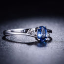 Oval Sapphire Diamond Accent 3 Stone Bud Leave Engagement Wedding Ring in 18K Gold - Ables Mall