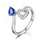 Natural Sapphire Paved Diamond Love Heart Engagement Wedding Ring in 18K Gold