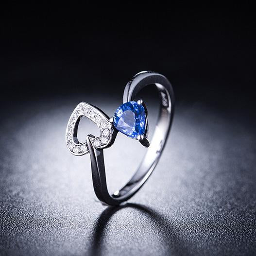 Pear Sapphire Diamond Accent Love Heart Engagement Wedding Ring in 18K Gold - Ables Mall