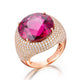 19.612CT Round Rubellite Ruby Diamond Accent Engagement Wedding Ring in 18K Gold