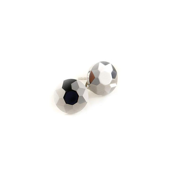 White Tungsten Carbide Faceted Round Stud Post Earrings Wholesale - Ables Mall