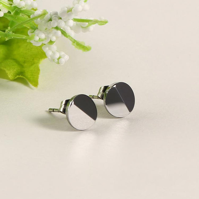 White Tungsten Carbide 2 Half Facets Round Stud Post Earrings Wholesale - Ables Mall