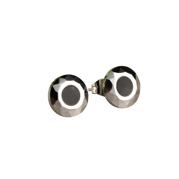 White Tungsten Carbide Faceted Evil Eye Stud Earrings Wholesale - Ables Mall