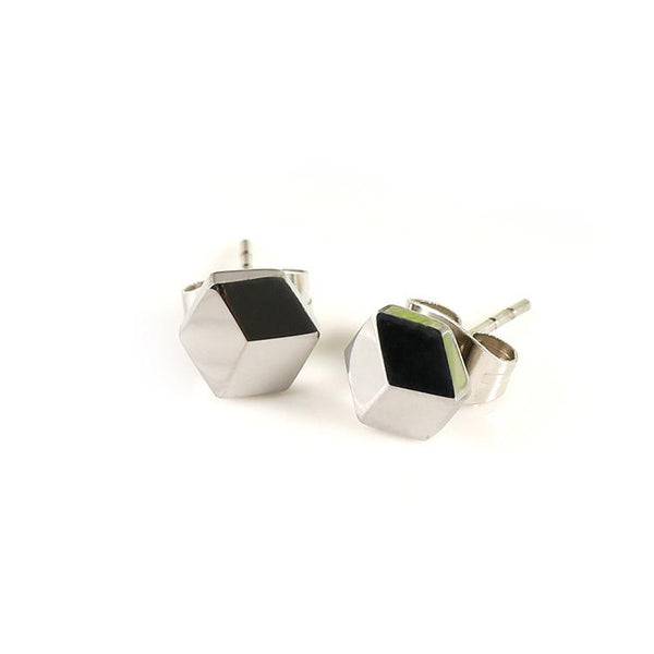 White Tungsten Carbide Hexagon 3 Facets Stud Earrings Wholesale - Ables Mall