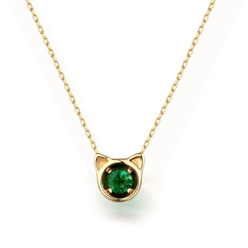 Natural round emerald kitty pendant gemstone necklace in 14k gold natural round emerald kitty pendant gemstone necklace in 14k gold wholesale china r2n3g11021 aloadofball Image collections