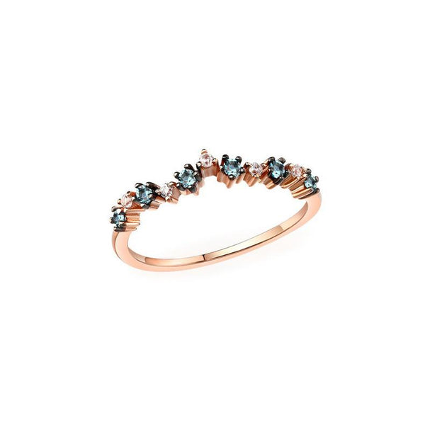 Prong Set Blue Topaz Cubic Zirconia Floral Ring in 14K Gold Gemstone Band - Ables Mall