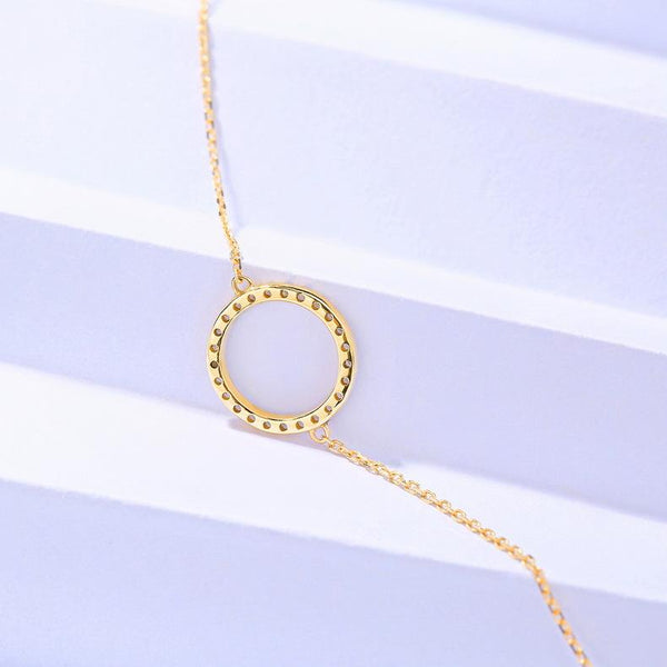 Cubic Zirconia Paved Eternity Circle Bracelet in 14K Gold - Ables Mall