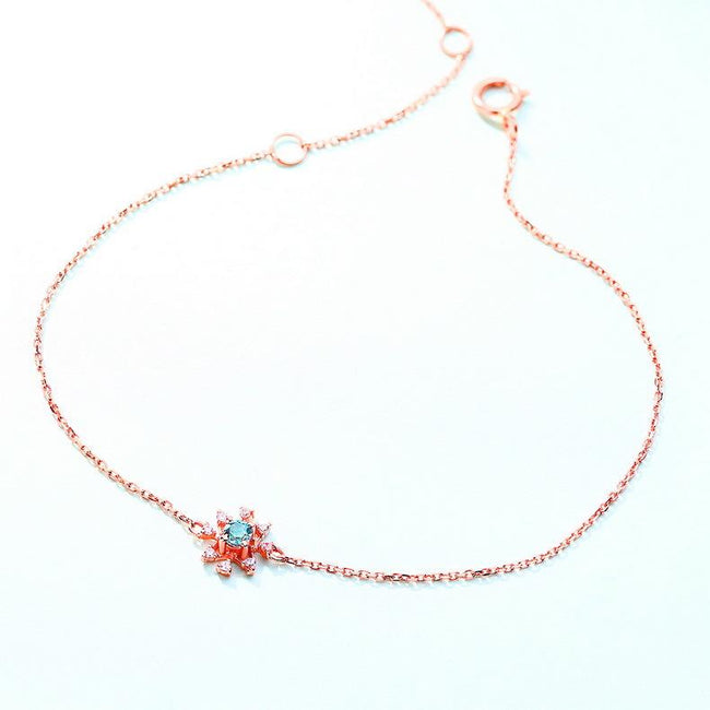 Blue Topaz Center Stone Flower Gemstone Bracelet in 14K Rose Gold - Ables Mall