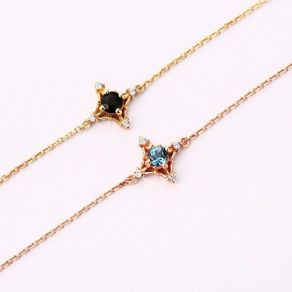 Blue Topaz Pointed Star Natural Gemstone Bracelet in 14K Gold - Ables Mall