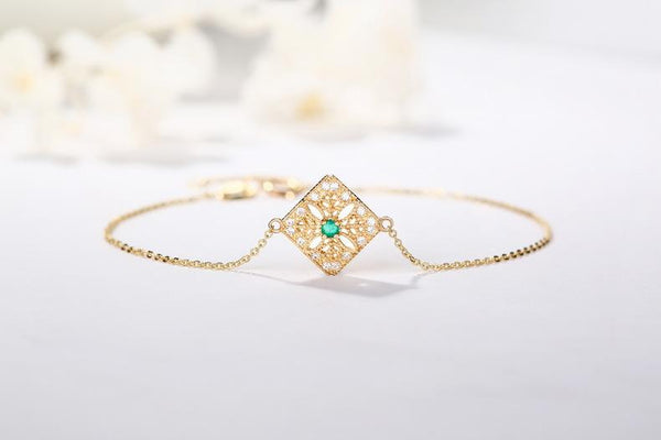 Natural Emerald Paved CZ Filigree Square Lace Bracelet in 14K Gold - Ables Mall