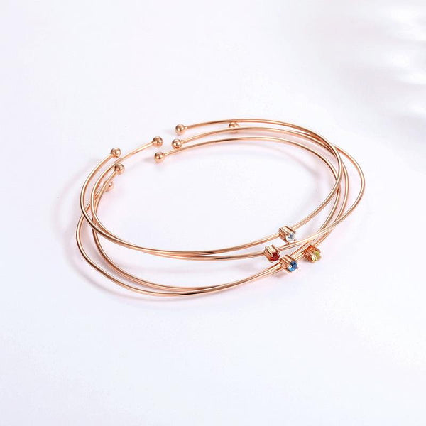 14K Rose Gold Natural Olivine Peridot Solitaire Gemstone Open Bangle Bracelet Factory Manufacturer Wholesale China R2B2G11012