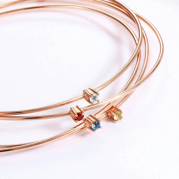 14K Rose Gold Natural Blue Topaz Solitaire Gemstone Open Bangle Bracelet Wholesale China R2B2G11009
