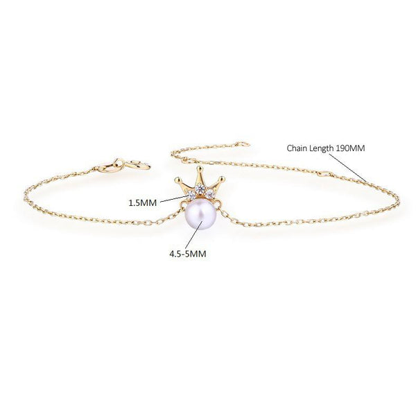 14K Solid Gold Natural Pearl Crown Queen Bracelet - Ables Mall