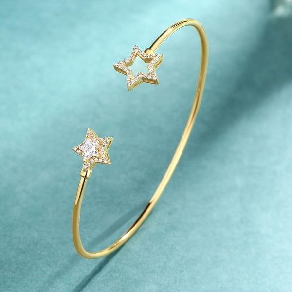 Cubic Zirconia Paved Stars Open Bangle Cuff Bracelet in Sterling Silver Factory Wholesale R2B2S21001