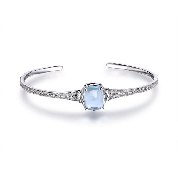 Natural Solitaire Blue Topaz Rose Crystal Open Bangle Filigree Cuff in Sterling Silver Factory Wholesale R2B2S21005