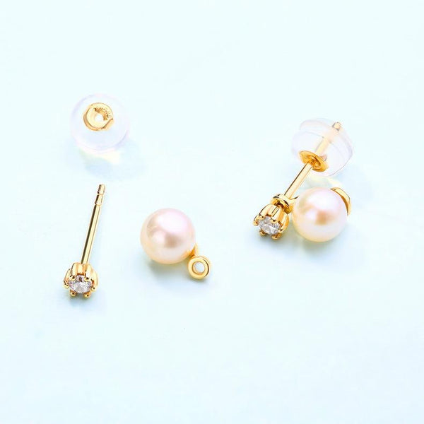 Cubic Zirconia Accent Fresh Water Pearl Stud Earrings in 14K Gold - Ables Mall