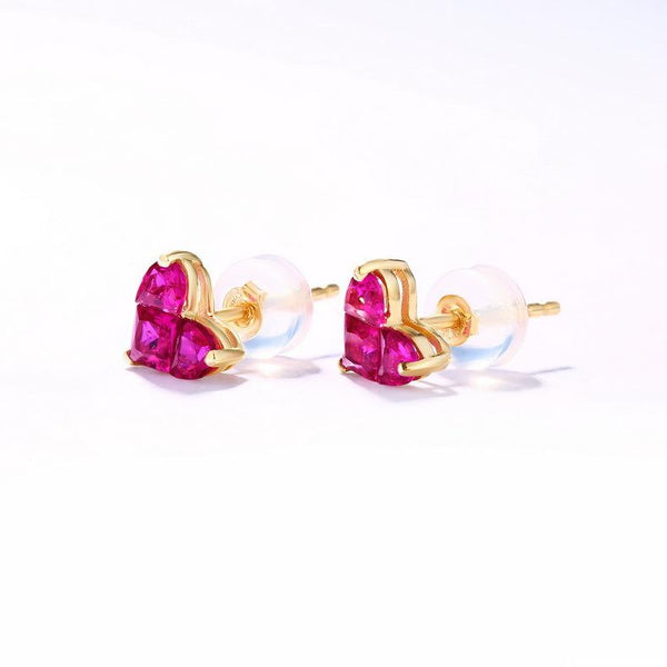 Lab Created Ruby Love Heart Stud Gemstone Earrings in 14K Gold - Ables Mall