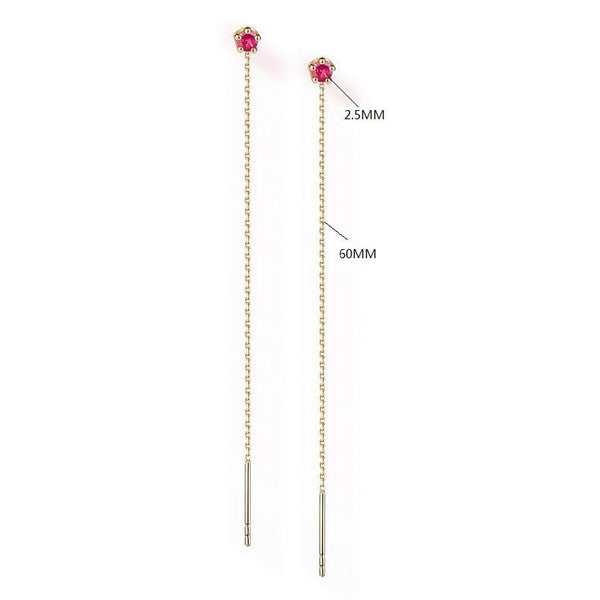 Natural Round Ruby Threader Gemstone Earrings in 14K Gold - Ables Mall